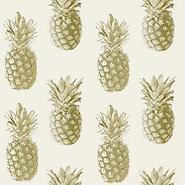 Ideco Home Cream Pineapple Metallic effect Wallpaper