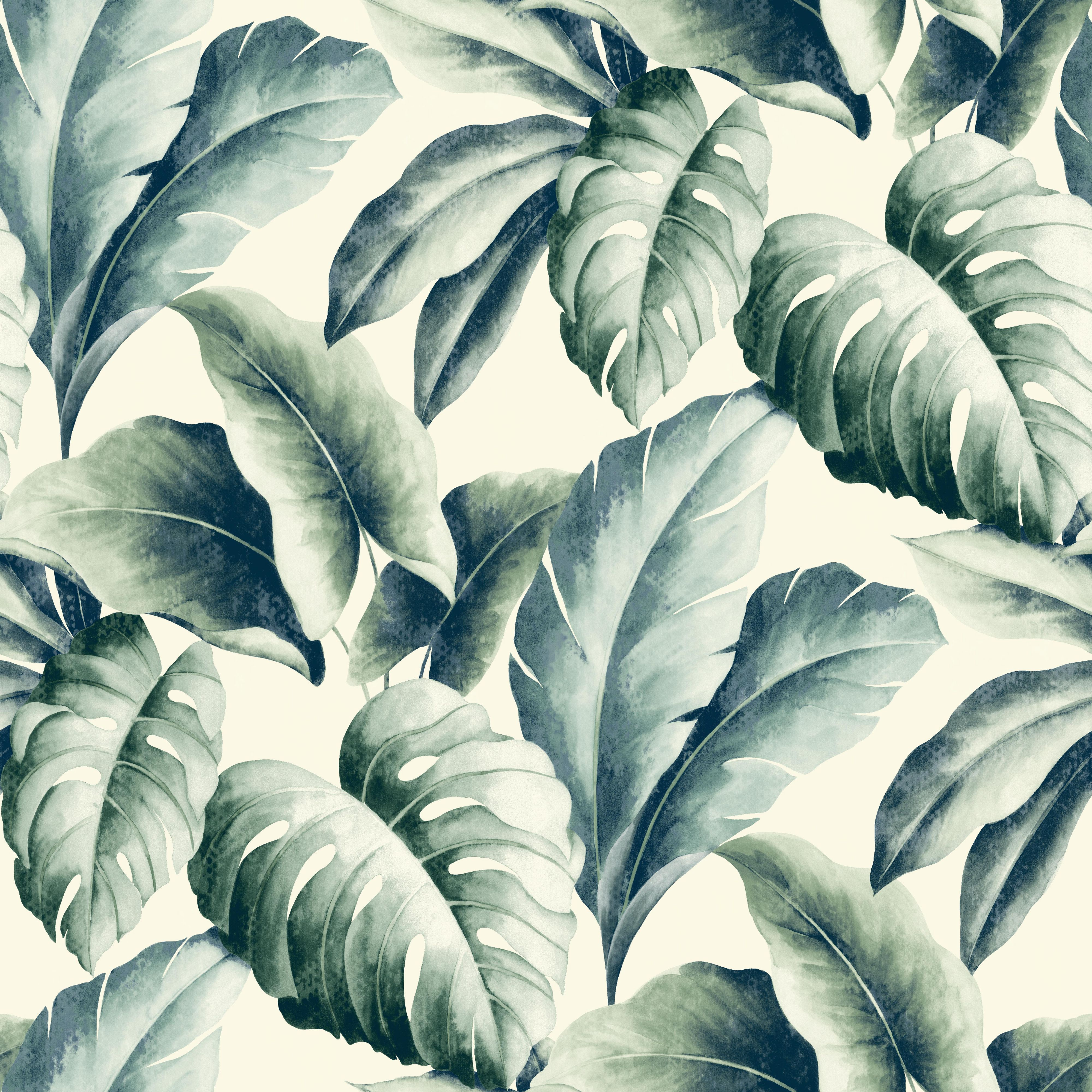Gold Green Palm Leaf Wallpaper Departments Diy At B Amp Q