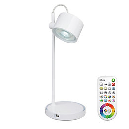 Idual Jasmine White Gloss Table Lamp with Remote