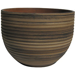 Terracotta Bamboo effect Plant pot (H)100mm (Dia)130mm