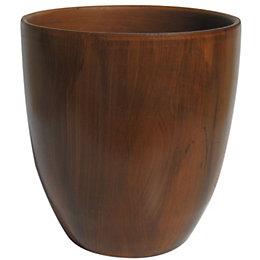 Round Dark Brown Dark Wood Effect Plant Pot