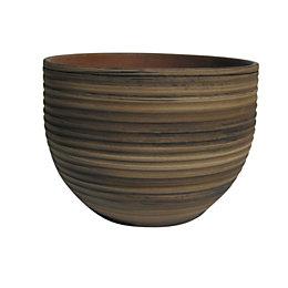 Terracotta Bamboo effect Plant pot (H)180mm (Dia)240mm
