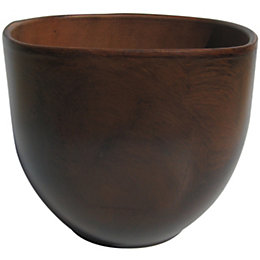 Dark brown Wood effect Plant pot (H)225mm
