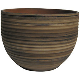 Terracotta Bamboo effect Plant pot (H)225mm (Dia)300mm