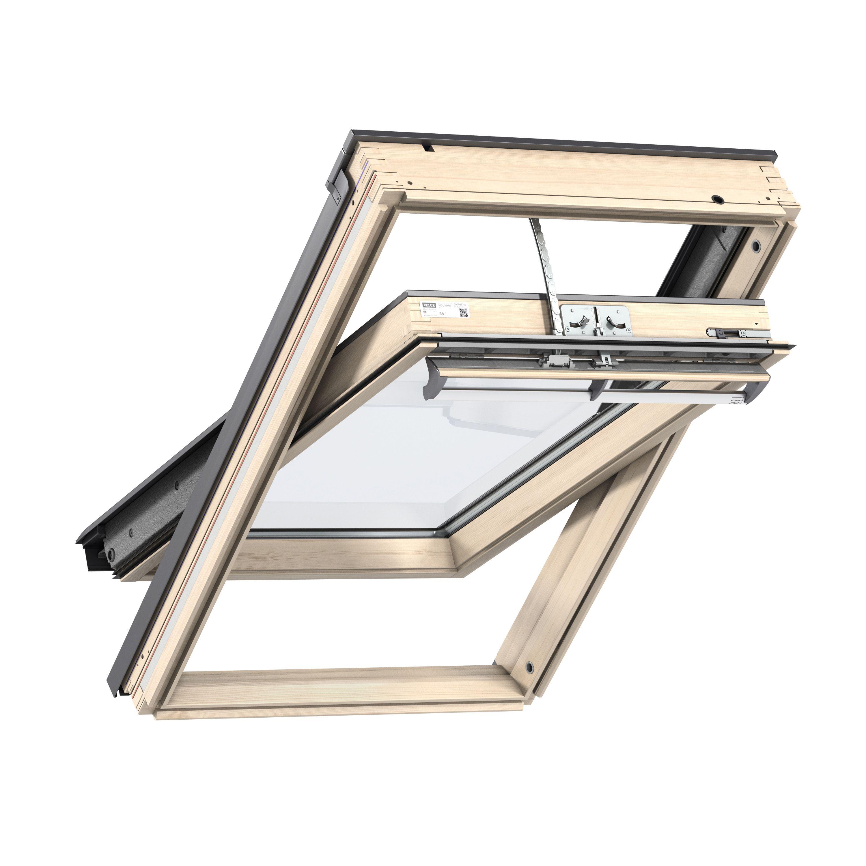 Velux pine centre pivot roof window 1180 x 550 mm for Velux cladding kit