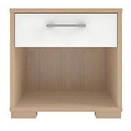 Form Evie White Oak effect Matt & high gloss 1 Drawer Bedside chest (H)393mm (W)402mm (D)342mm