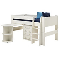 Wizard White Painted Mid Sleeper Bed with Desk & Chest Of Drawers