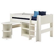 Wizard White Painted Mid Sleeper Bed with Desk & Bookcase