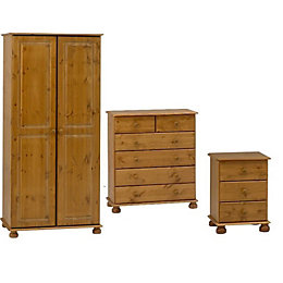 Malmo Stained Pine 3 Piece Bedroom Furniture Set