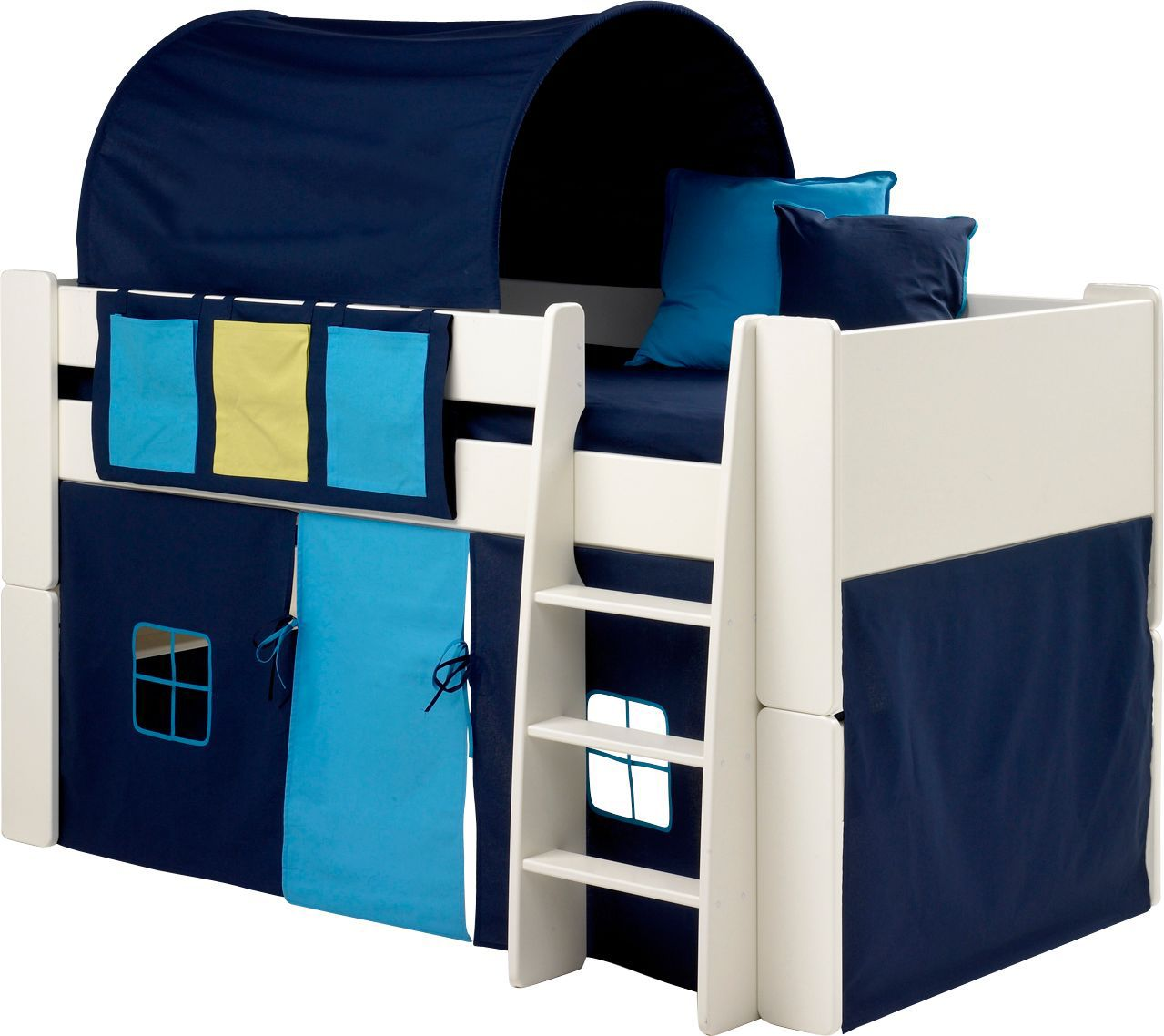 wizard single mid sleeper bed with blue accessories departments