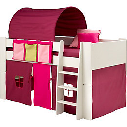 Wizard Single Mid Sleeper Bed with Pink Accessories