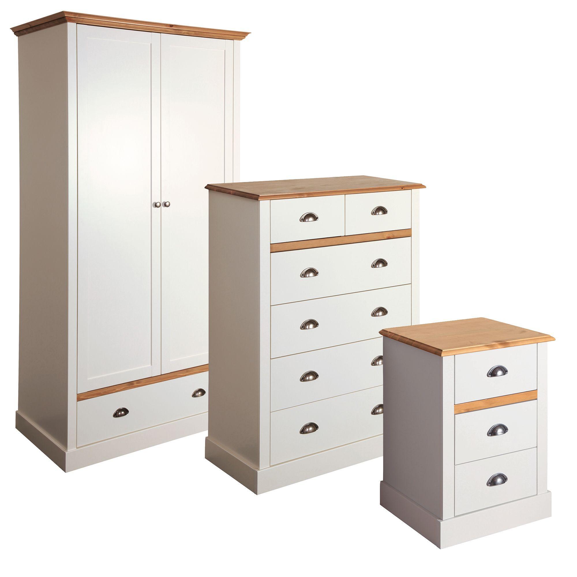 Hemsworth Cream & Oak Effect 3 Piece Bedroom Furniture Set ...