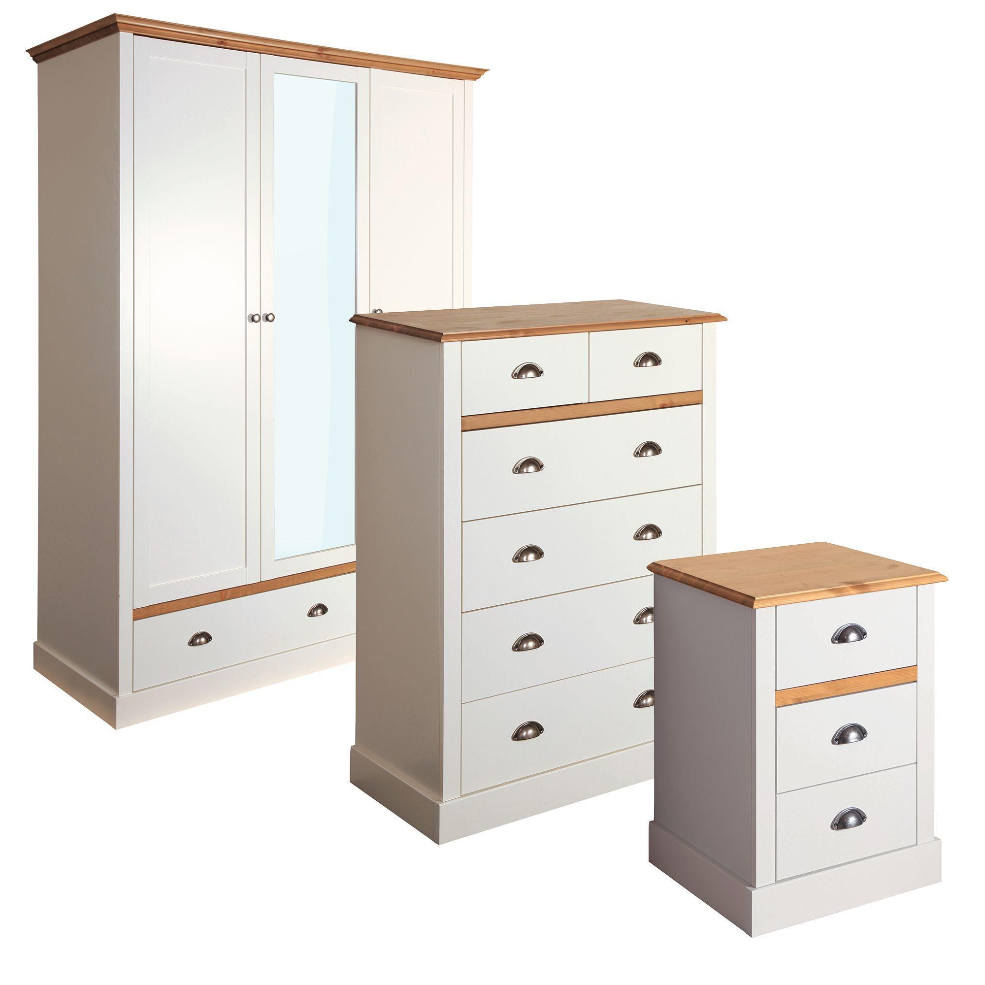 hemsworth cream oak effect 3 piece bedroom furniture set - 3 Piece Bedroom Furniture Set