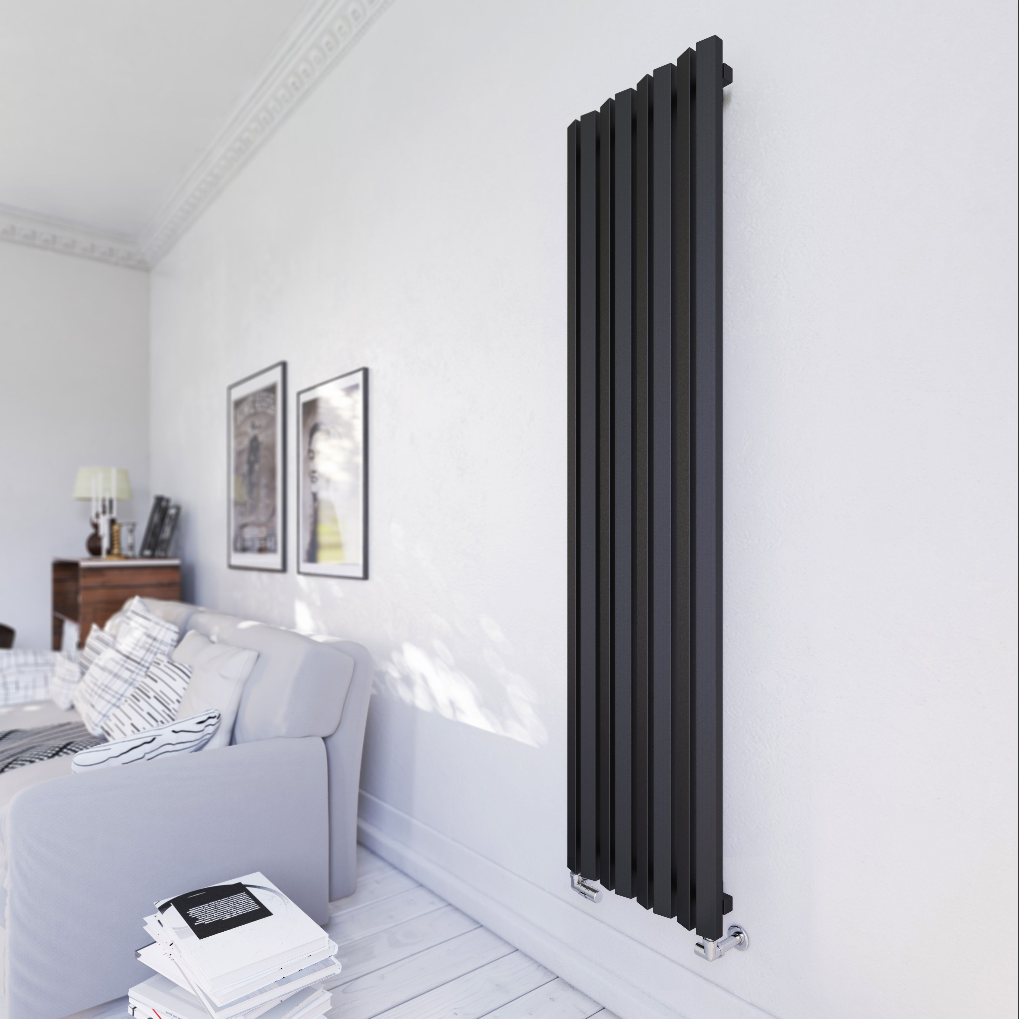 Terma Durham Vertical Radiator Metallic black Textured (H)1800
