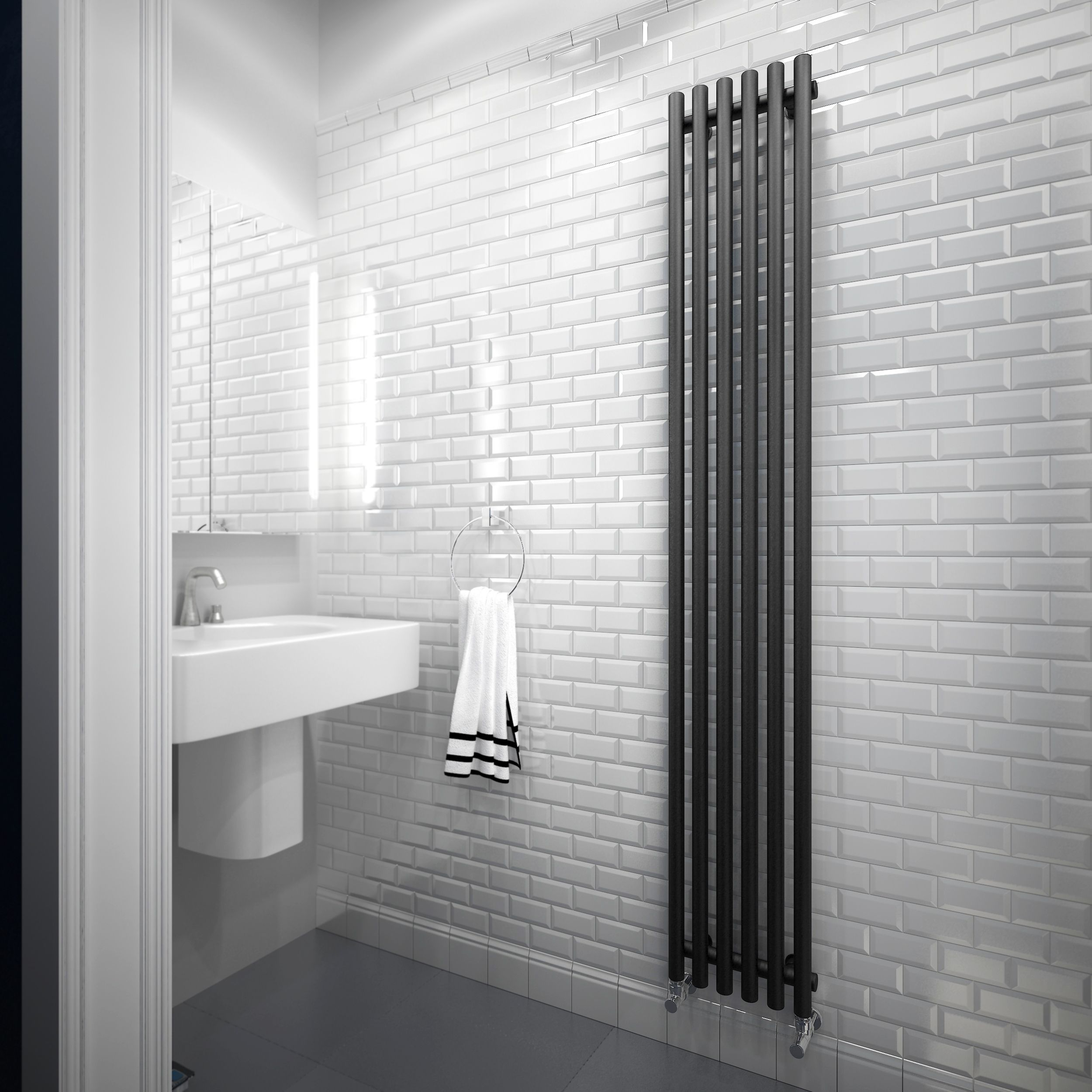 Terma Tune Vertical Radiator Metallic black Matt (H)1800