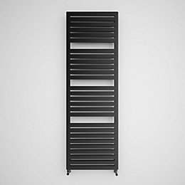 Terma Salisbury Metallic Black Flat Towel Radiator (H)1635mm