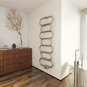 Terma Ouse Galvanised Nickel Round Towel Radiator