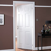 6 panel White Woodgrain effect LH & RH Internal Door, (H)1981mm (W)686mm (T)35mm