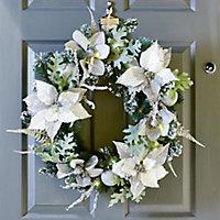 60cm Pre-lit Poinsettia Christmas wreath