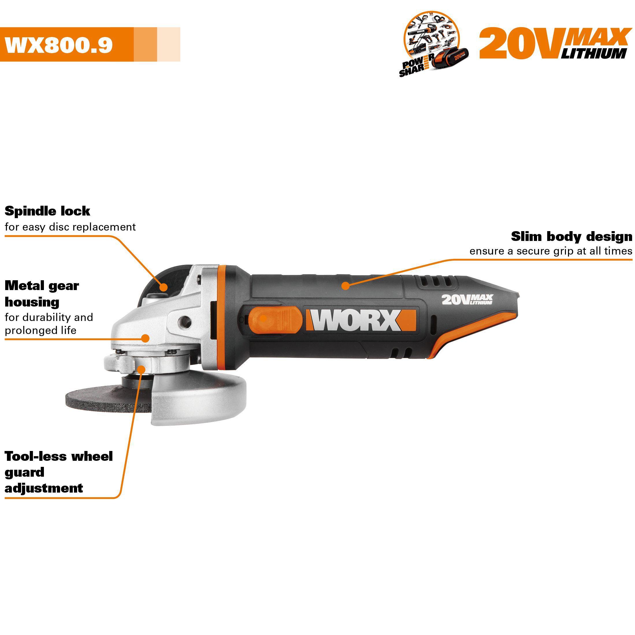 worx powershare cordless 20v 115mm angle grinder wx800 9 barehome furniture d ebay. Black Bedroom Furniture Sets. Home Design Ideas