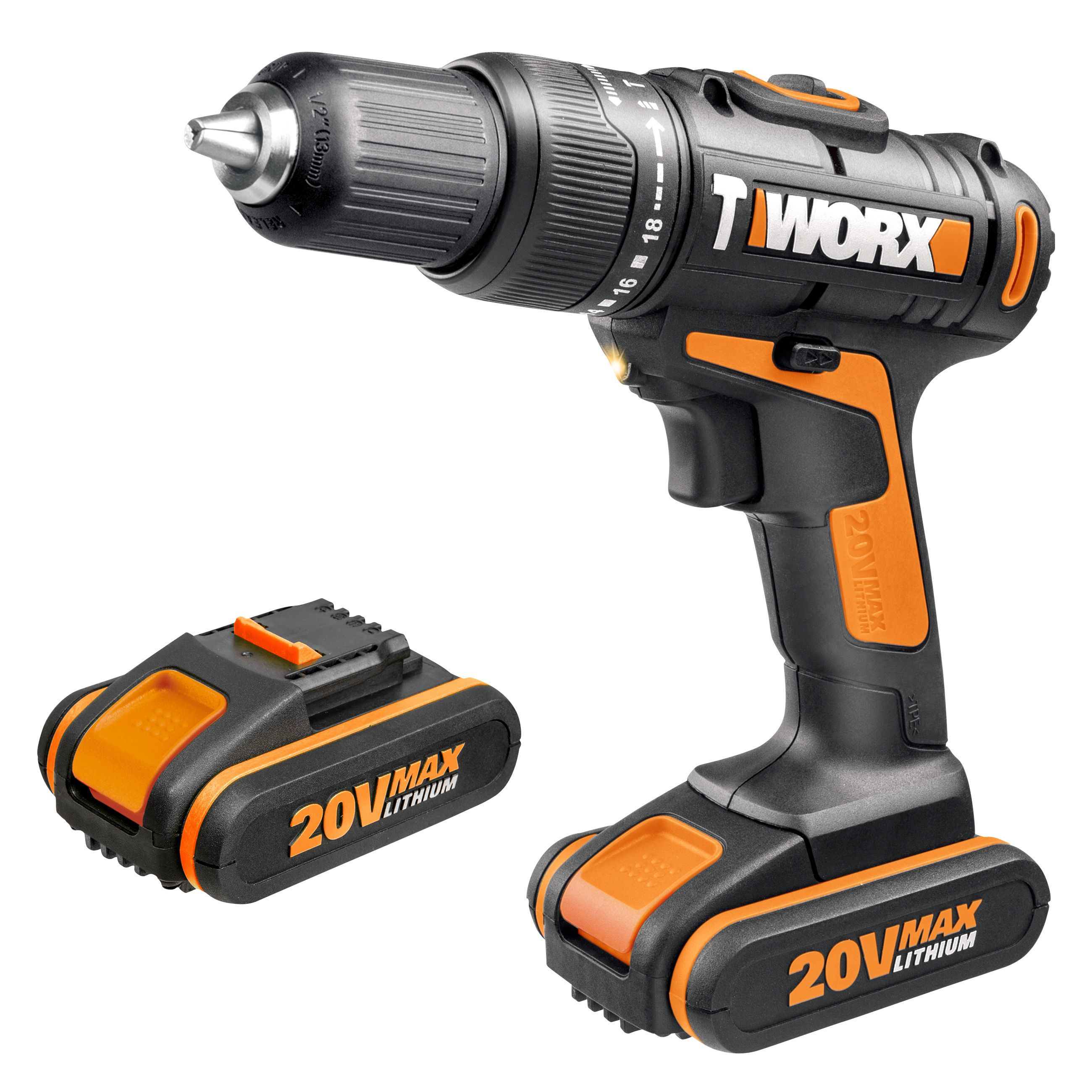 worx cordless 20v li ion brushed drill 1 battery wx386 2 departments tradepoint. Black Bedroom Furniture Sets. Home Design Ideas