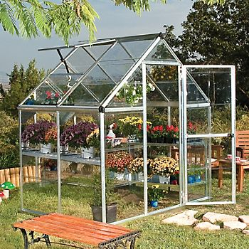 Palram Harmony 6X4 Polycarbonate Greenhouse with open door and window