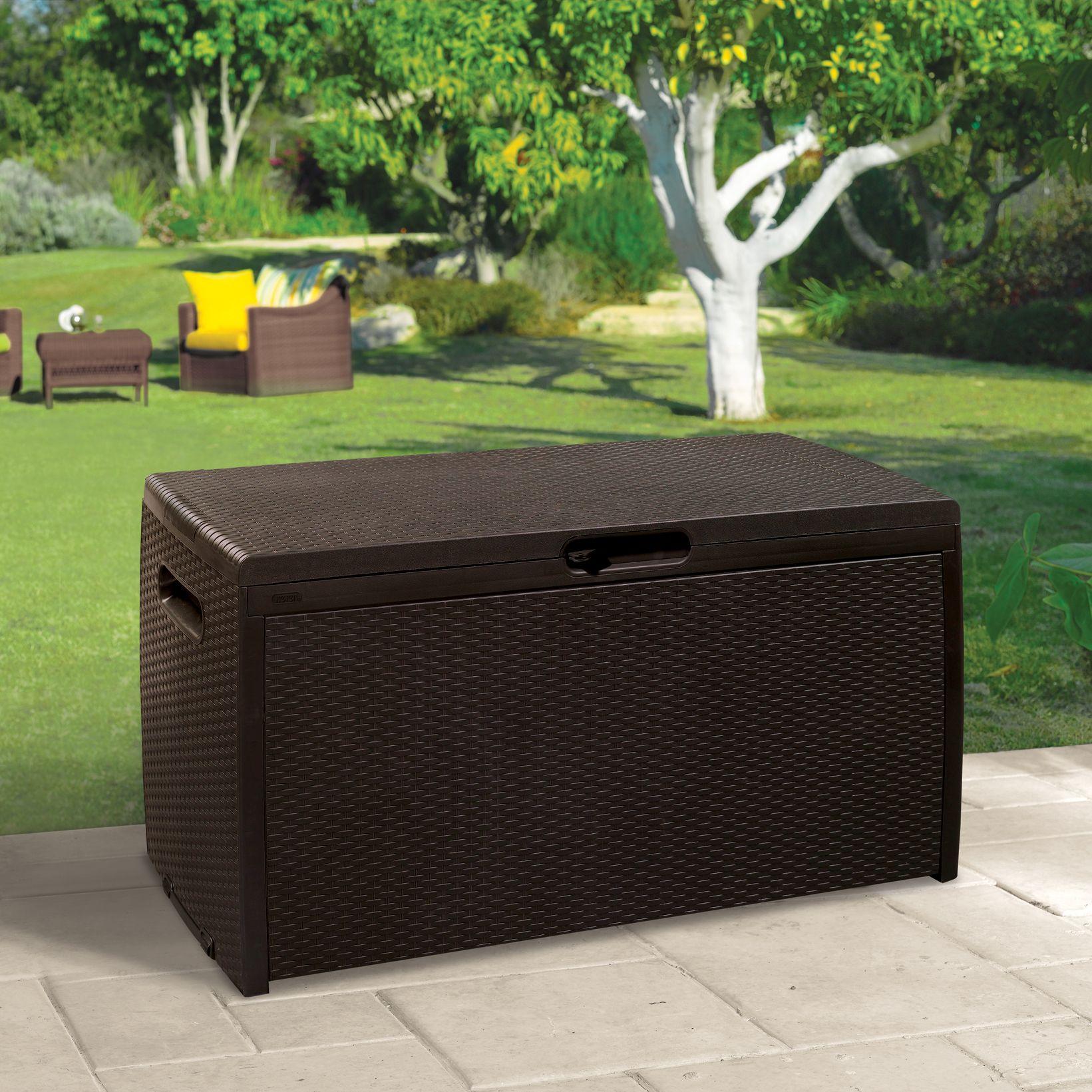 & Rattan Effect Plastic Garden Storage Box   Departments   DIY at Bu0026Q