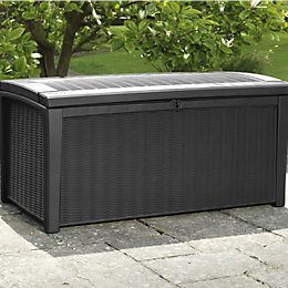 Borneo Rattan Effect Plastic Garden Storage Box