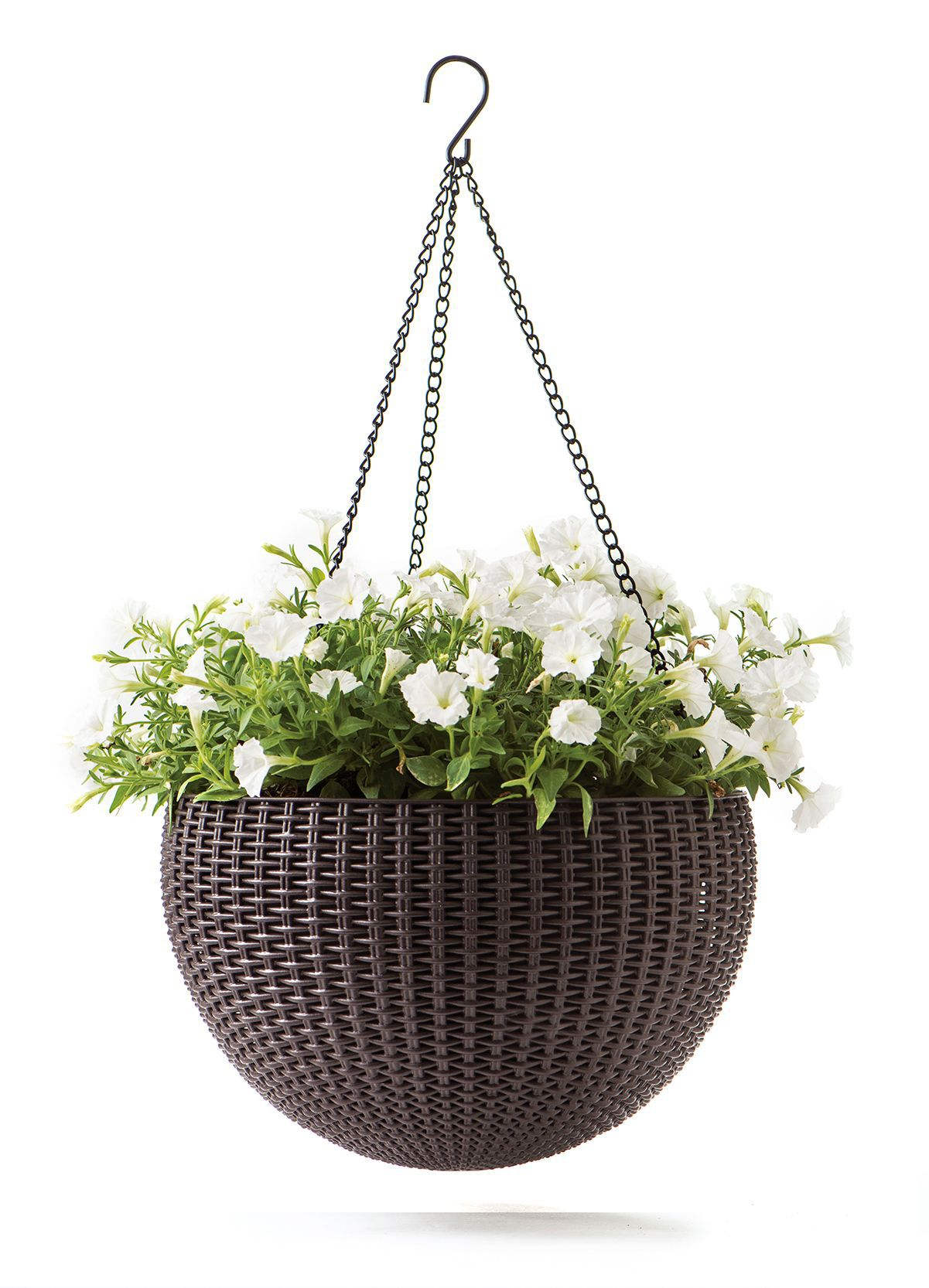 Perfect Keter Rattan-effect Anthracite hanging planter 355.6 mm  YU68