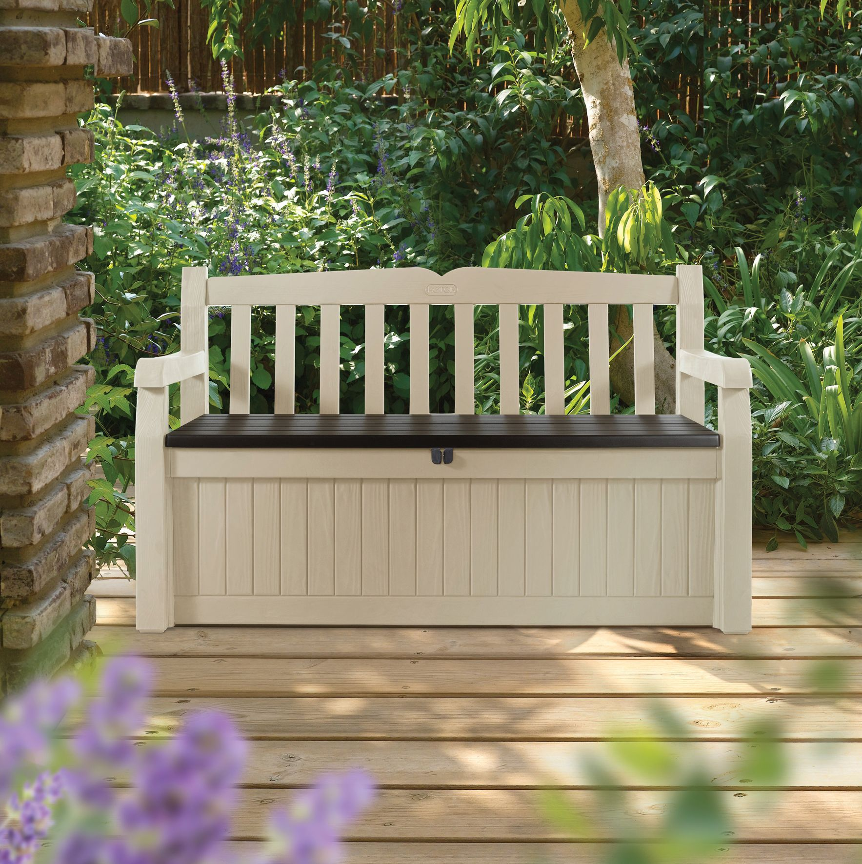 Eden plastic garden storage bench departments diy at b q for Bancos de jardin de plastico