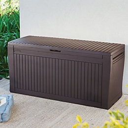 Comfy Wood Effect Plastic Patio Storage Box