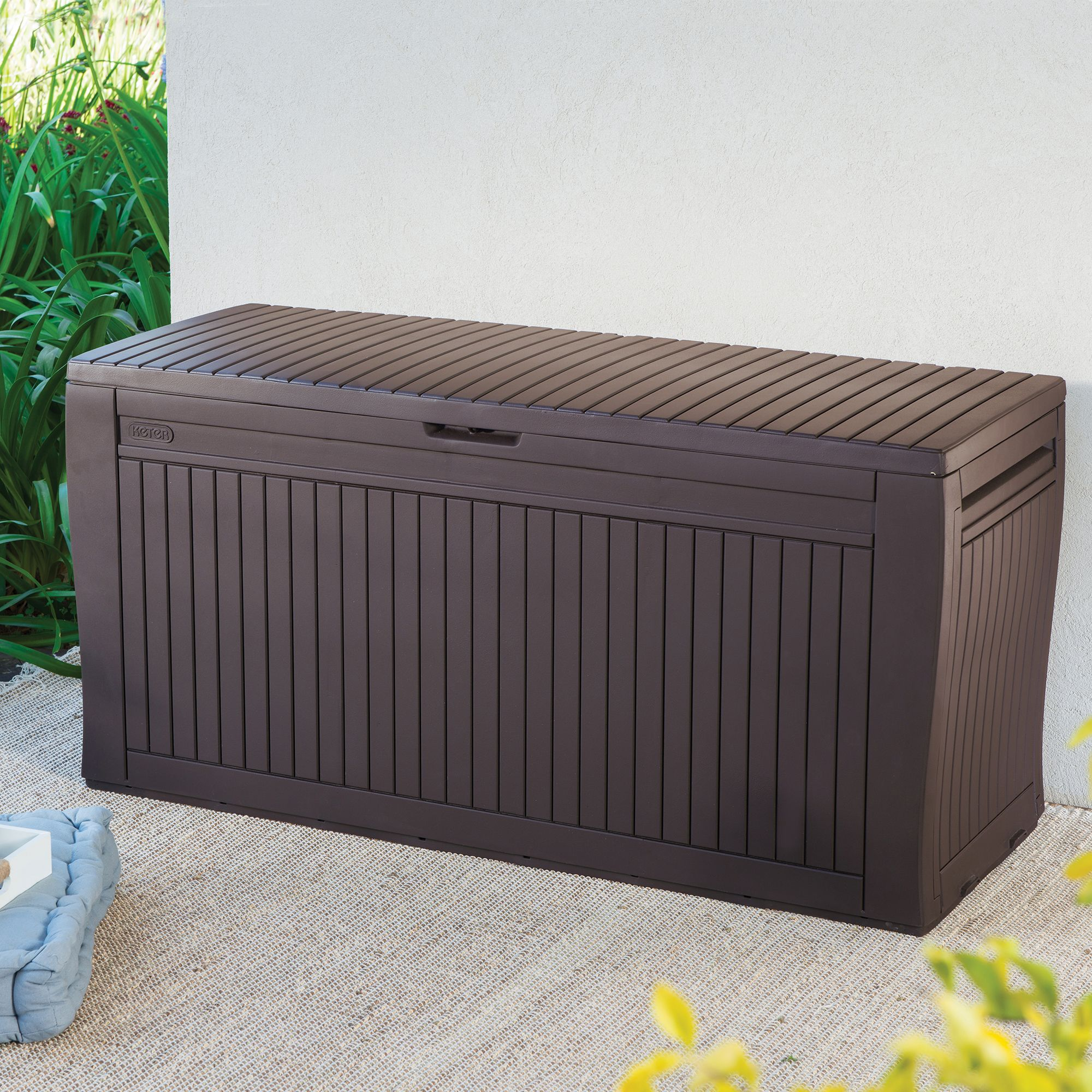 Keter Comfy Wood Effect Plastic Garden Storage Box Departments