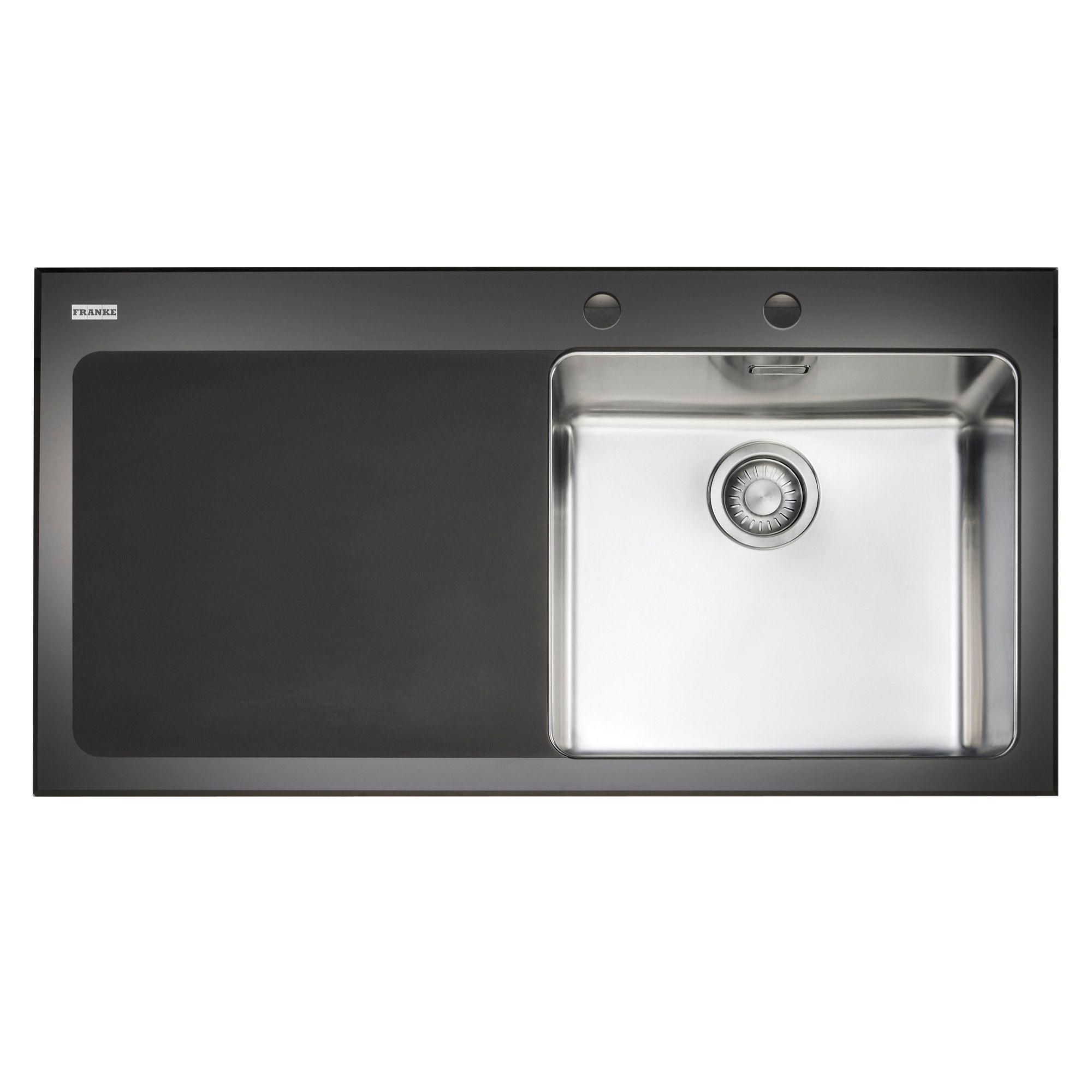 Franke Kubus 1 Bowl Black Polished Toughened Glass & Stainless Steel ...