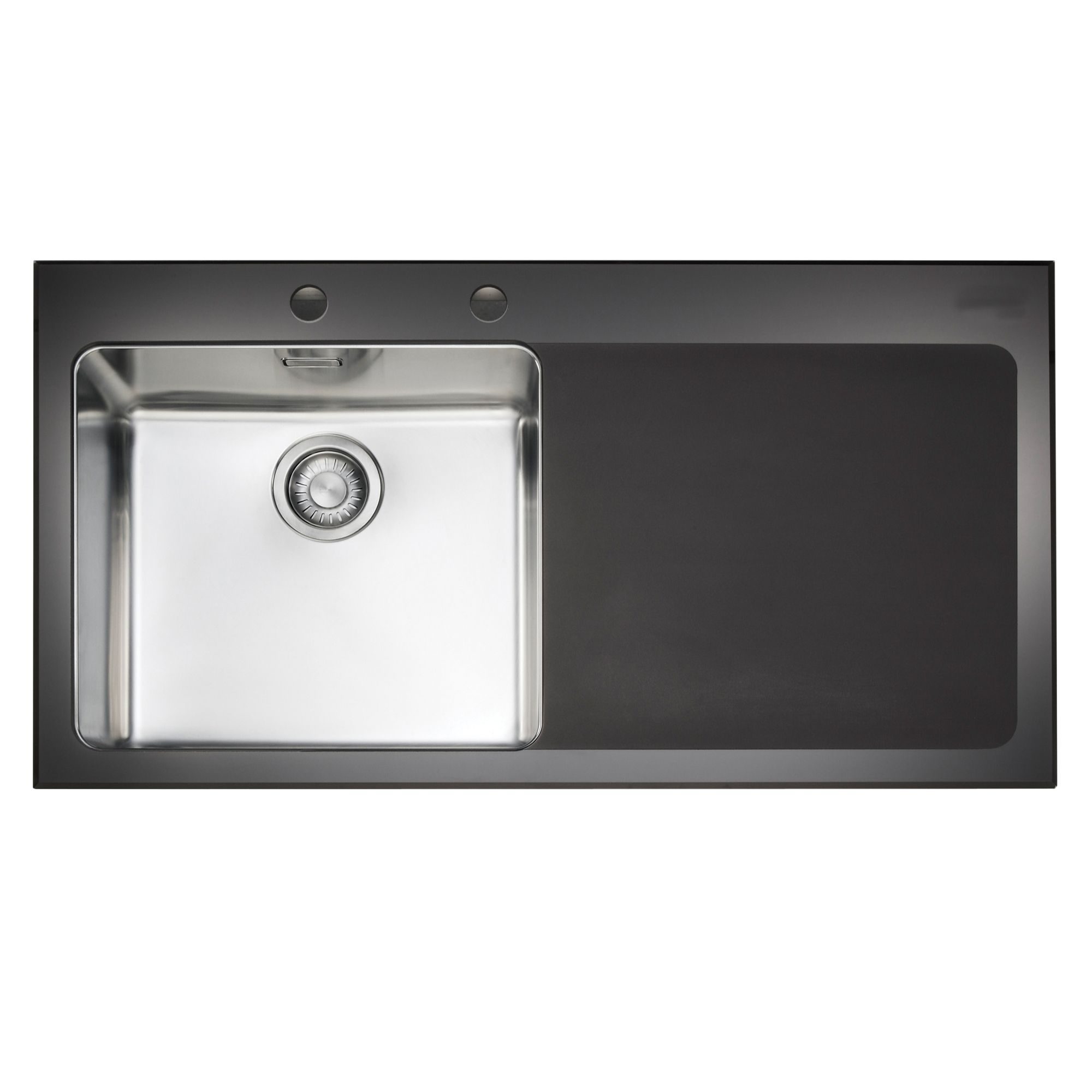 b and q kitchen sink franke kubus 1 bowl black polished toughened glass 7541