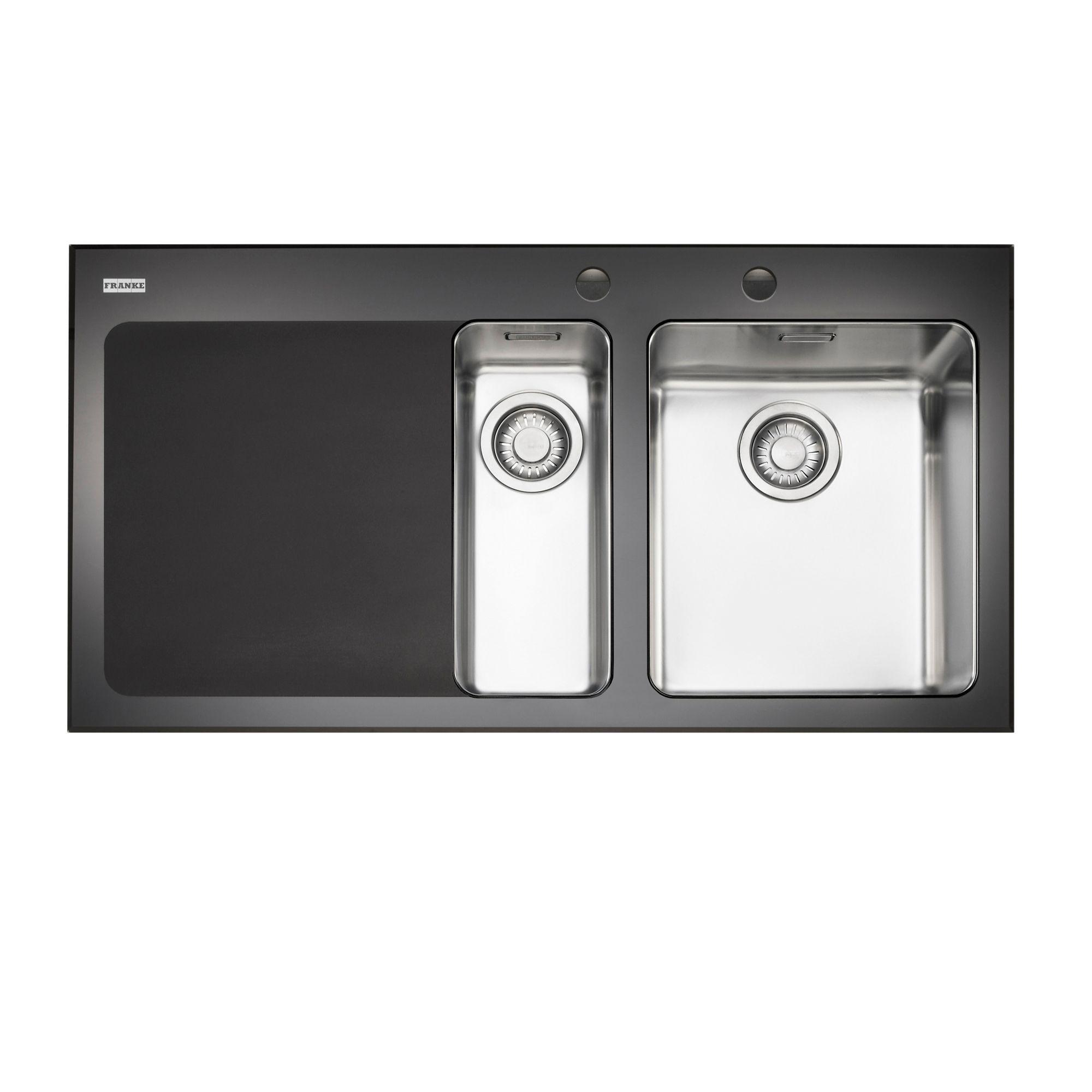 Franke Kubus 1 5 Bowl Black Polished Toughened Glass Stainless Steel 1 5 Kitchen Sink Departments Diy At B Q