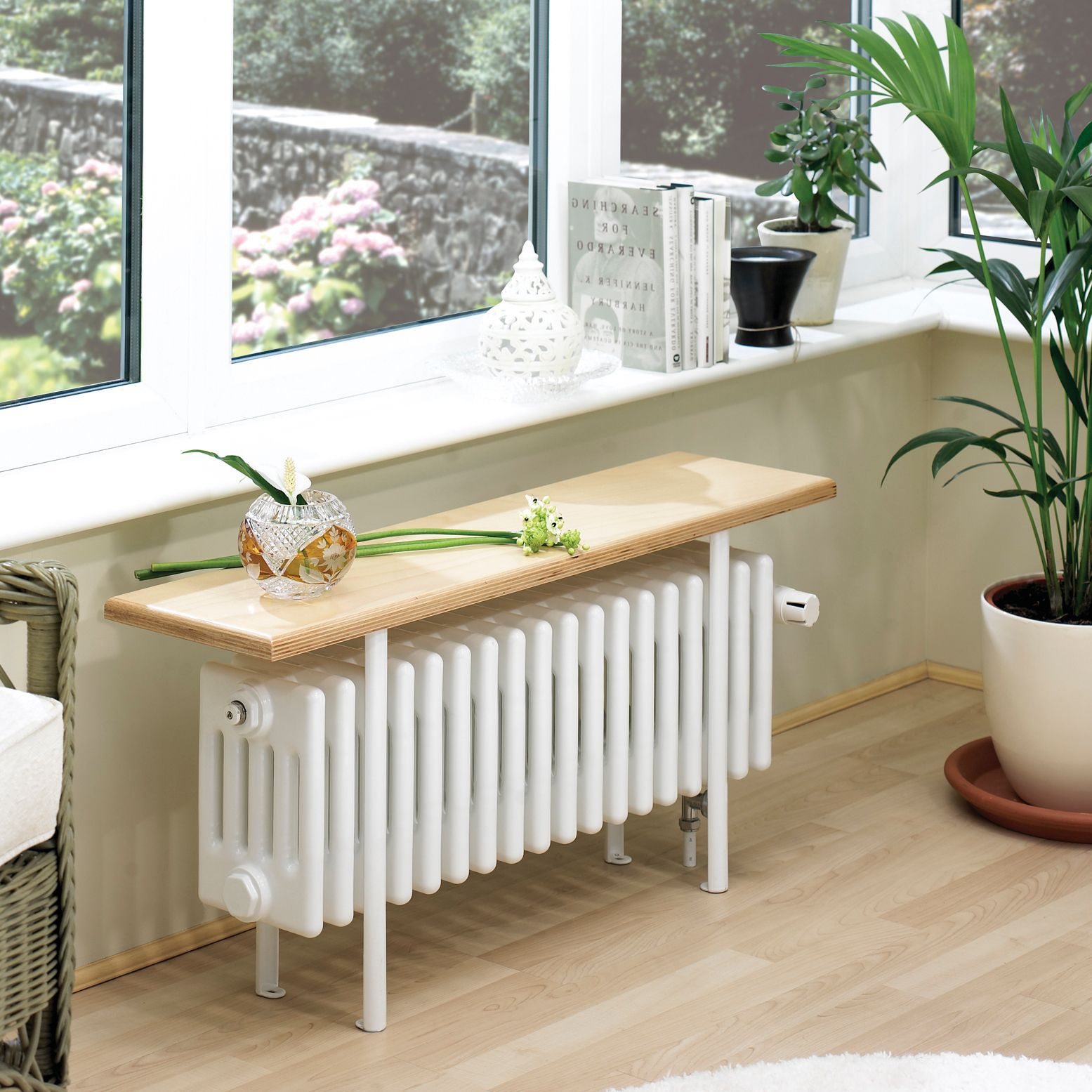 Acova 4 Column radiator, White (W)1000mm (H)455mm