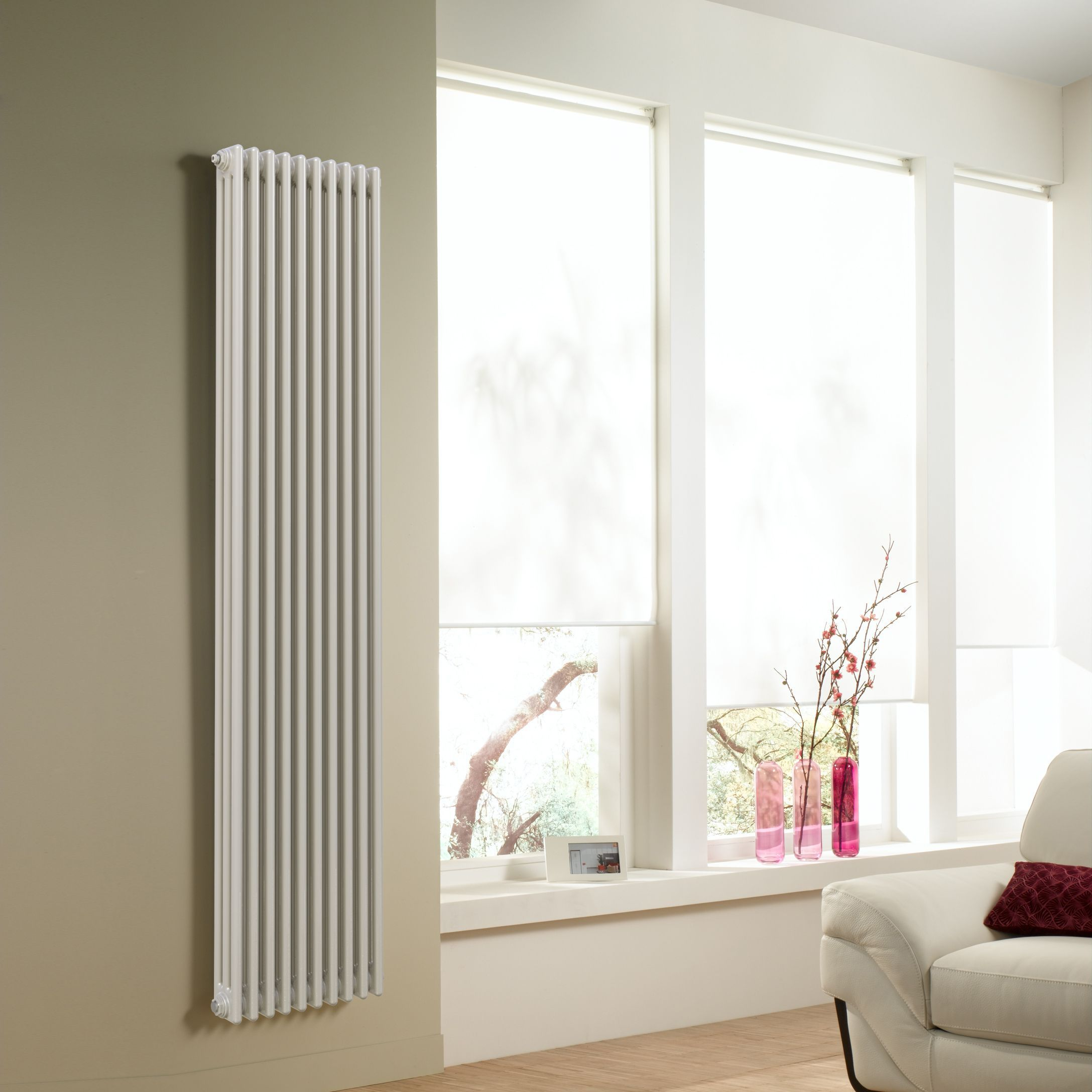 Acova 3 Column radiator, White (W)490mm (H)2000mm