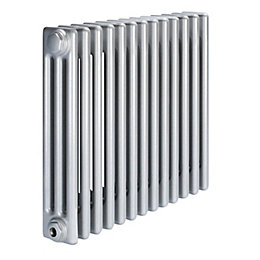 Acova 3 Column radiator, Silver (W)628mm (H)600mm