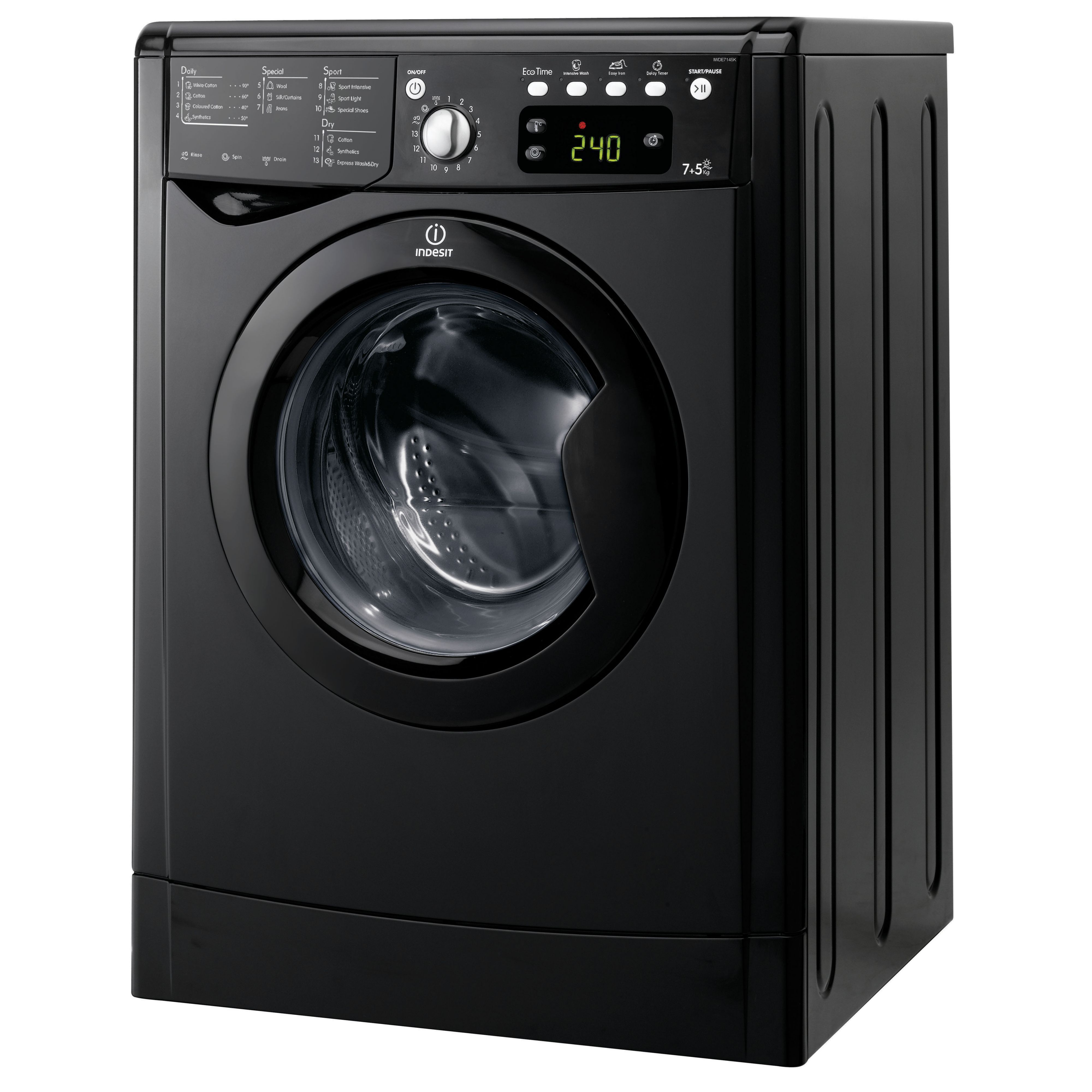 Indesit Iwde7145k Uk Black Freestanding Washer Dryer