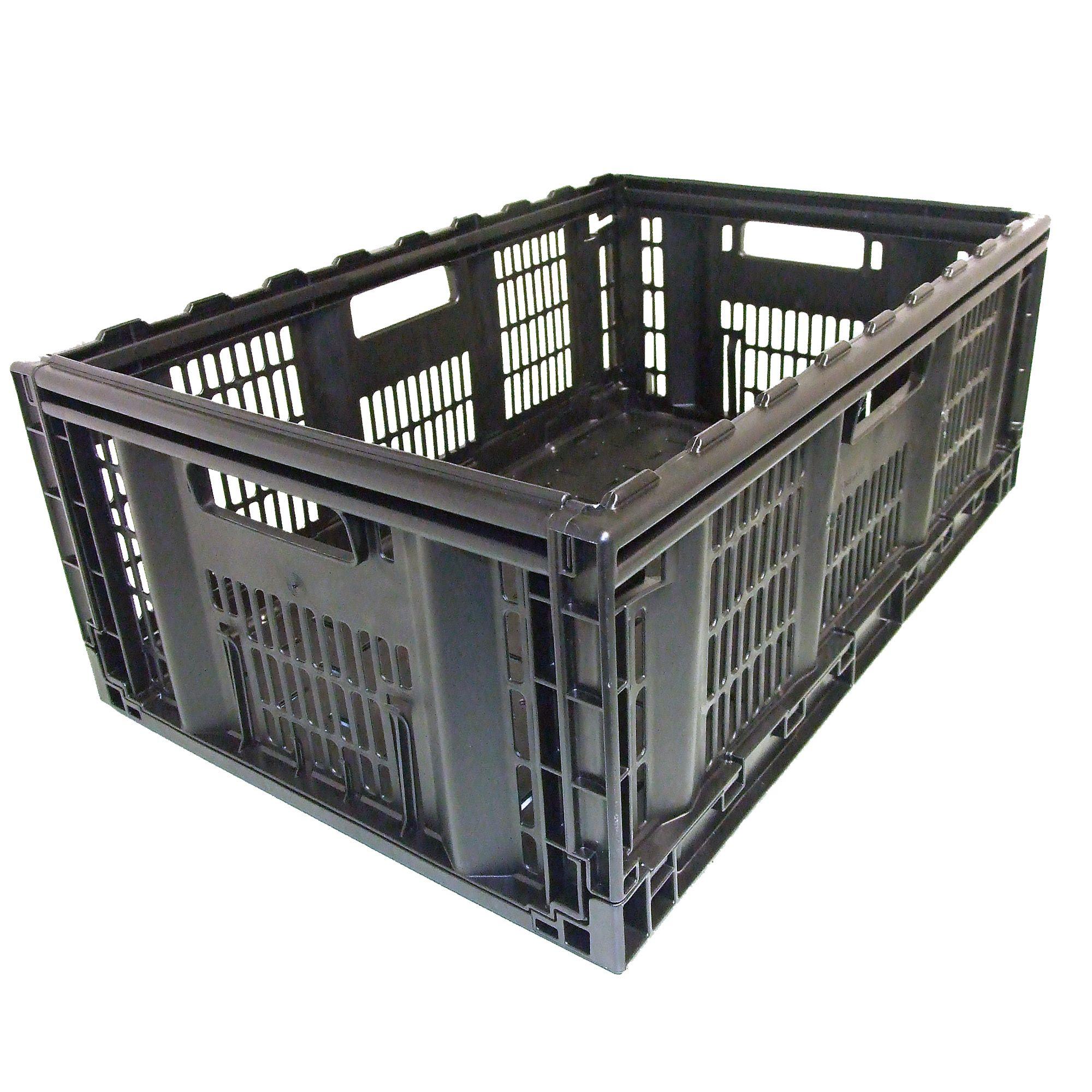 B Q Kitchen Cabinets Sale: Tontarelli Folding Crate Black 46L Plastic Storage Crate