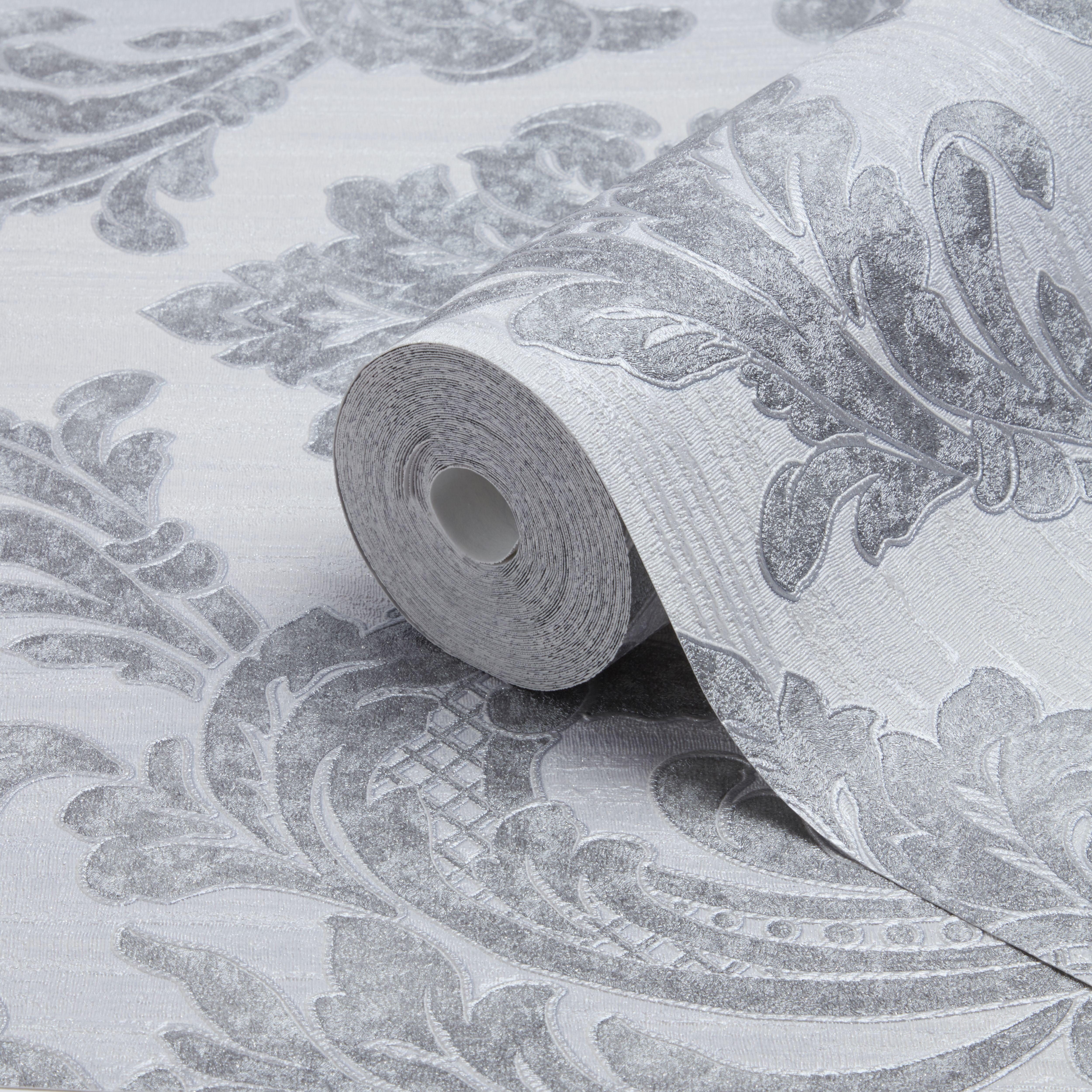 Fine Decor Verona Grey Damask Glitter Effect Textured Wallpaper