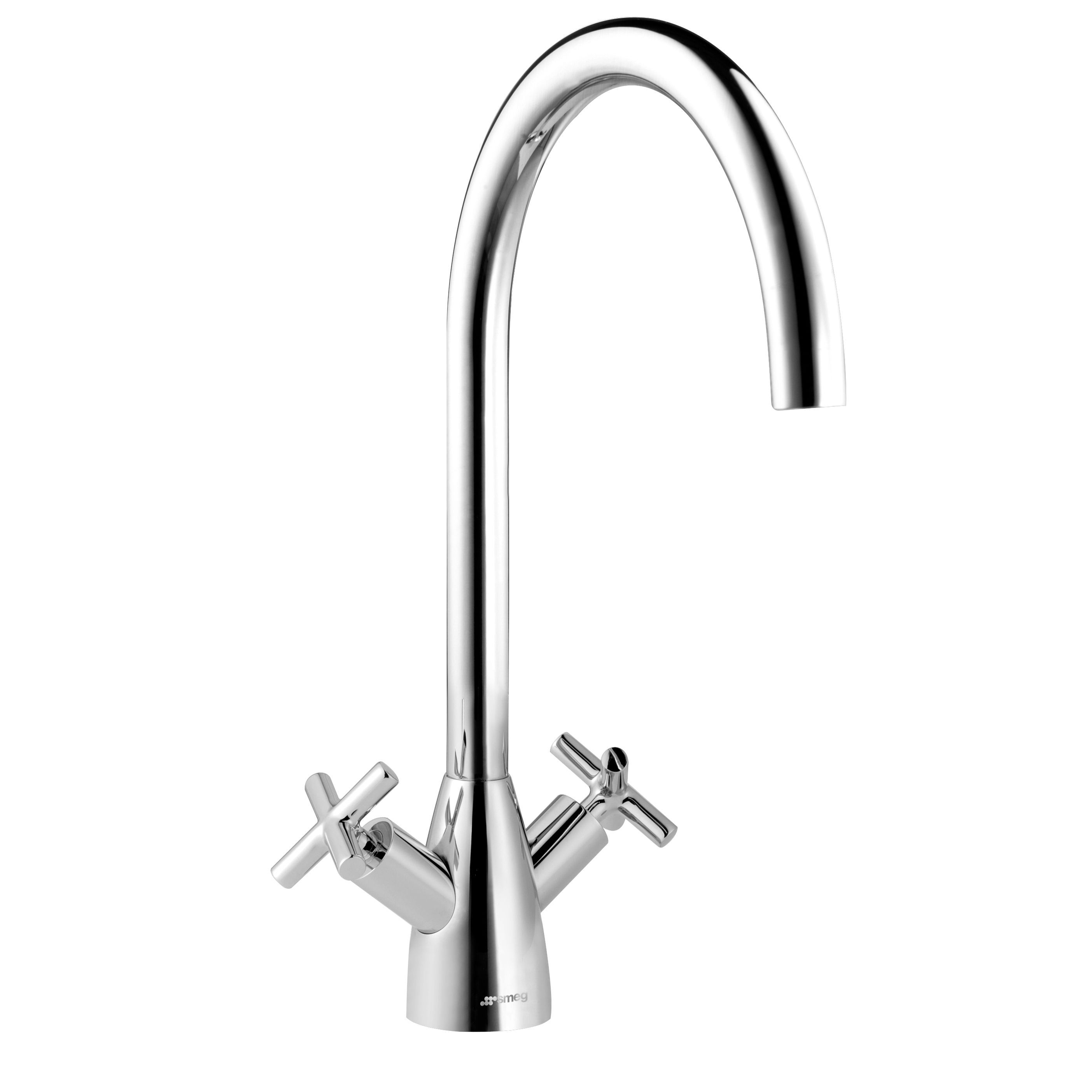 Smeg Mito Chrome Effect Kitchen Swan Neck Tap | Departments | DIY at B&Q