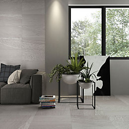 Shaded stone White Stone effect Porcelain Wall &