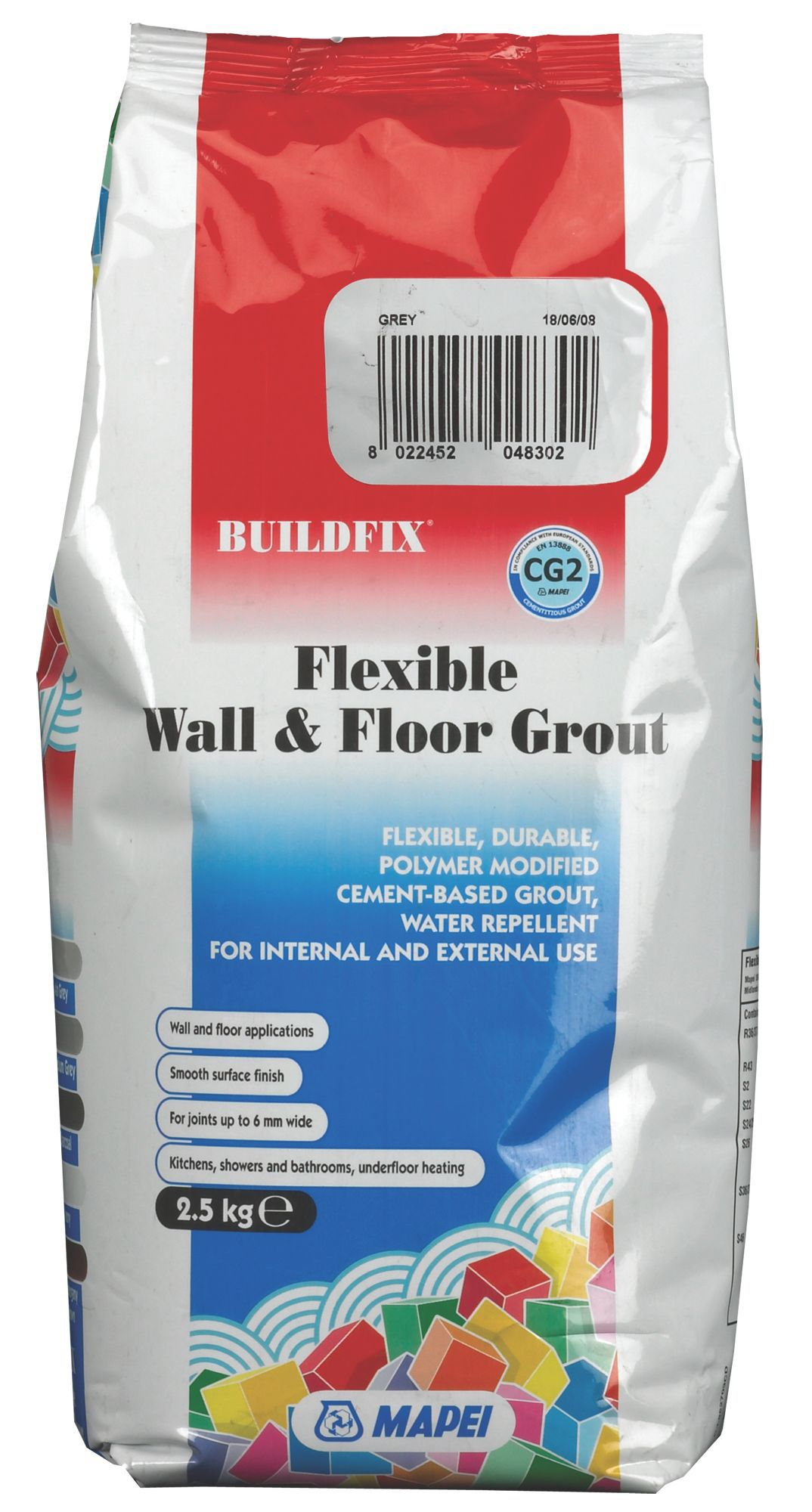 Mapei Flexible Grey Wall & floor grout (W)2 5kg | Departments | DIY at B&Q