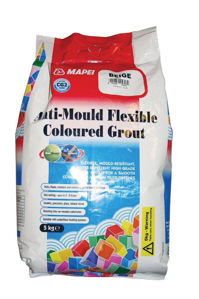Mapei White Anti-Mould flexible grout (W)5kg | Departments | DIY at B&Q