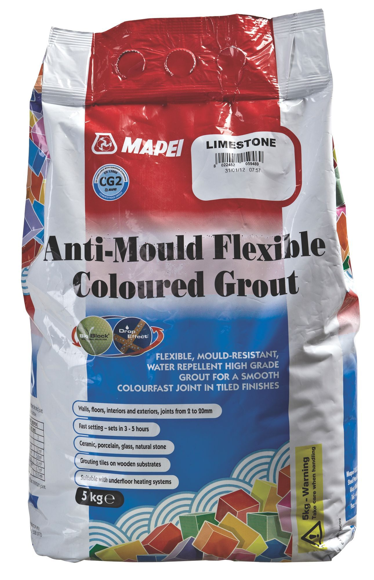 Mapei Limestone Anti-Mould flexible grout (W)5kg | Departments | DIY at B&Q