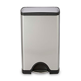Simplehuman Brushed Stainless steel Rectangular Pedal bin, 38L