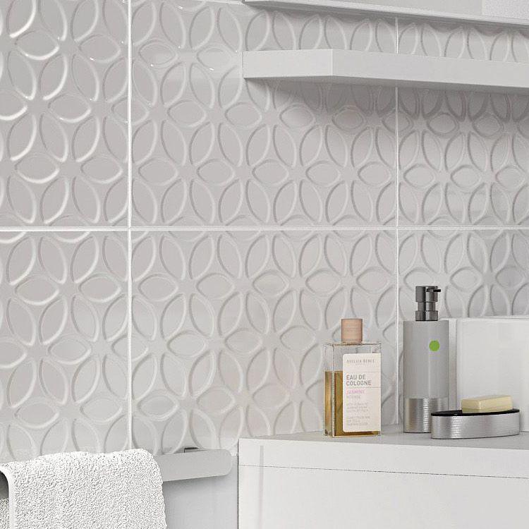 Iris White Ceramic Wall tile, Pack of 10,