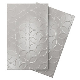 Iris Grey Ceramic Wall tile, Pack of 10,
