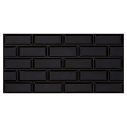 Millenium Black Brick effect Ceramic Wall tile, Pack